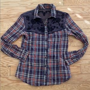 Free people blue plaid button front shirt